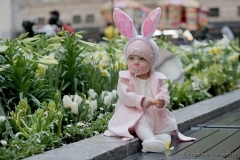 Mila Mazurok, 7-months-old from Maryland, participates in the 2021 Annual Easter Bonnet Parade on Fifth Avenue in New York City on April 4, 2021. Paradegoers either dressed in their finest clothing or in colorful bonnets of all shapes and sizes still attended the annual Easter holiday tradition, on the steps of St. Patrick's Cathedral or in nearby Rockefeller Center, despite the Covid 19 pandemic. (Photo by Andrew Schwartz)
