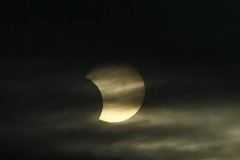 Eclipse June 10, 2021 Staten Island, NY  For credit:  Mary DiBiase Blaich  A rare sun and moon eclipse made its appearance at sunrise this morning before clouds covered the event.