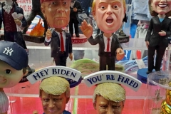 Election night in New York City.  Souvenir shops in Time square sell bobble head statues of President Donald J. Trump