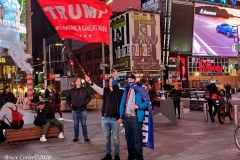 Election night in New York City's Time Square people are waiting for election results to come in for the presidential election.