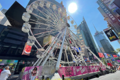 Ride a state-of-the-art ferris wheel in the Crossroads of the World, and soar up 110 feet through a canyon of spectacular billboards, getting an entirely new vantage point on Times Square. Buy tickets online or in person. * $15 per person for children 2–10 * $20 per person for general admission * $35 per person for VIP / Skip the line   Times Square is a major commercial intersection, tourist destination, entertainment center, and neighborhood in the Midtown Manhattan section of New York City, at the junction of Broadway and Seventh Avenue.  THE TIMES SQUARE WHEEL IS A ONCE-IN-A-LIFETIME EXPERIENCE IN THE MIDDLE OF TIMES SQUARE NYC. WE HAVE ERECTED A MAJESTIC, STATE-OF-THE-ART 110 FOOT TALL GIANT FERRIS WHEEL THAT WILL SHOWCASE THE CROSSROADS OF THE WORLD AS NEVER SEEN BEFORE. EXPERIENCE SENSORY OVERLOAD BY BILLIONS PIXELS AS YOU SOAR 110 FEET THRU A CANYON OF SPECTACULAR BILLBOARDS. COME AND SHARE THIS SPECTACULAR EXPERIENCE WITH FRIENDS AND FAMILY ALL OVER THE WORLD.