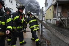 Wednesday, March 31, 2021 Fifth Alarm 60 Davidson Street Staten Island, NY For Credit:  Mary DiBiase Blaich  A 5th Alarm Fire burns through a 2.5 story warehouse at 60 Davidson Street in Staten Island Wednesday afternoon.  All fire members were removed from the building.  More than 10 tower ladders were called to the scene, and the NYPD called a level one mobilization for traffic control.