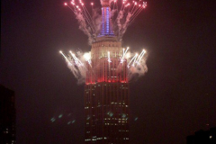 Fireworks explode off the Empire State Building in New York City to celebrate Independence Day on July 4, 2021 in New York City. The fireworks were sponsored department store chain Macy's. (Photo by Andrew Schwartz)