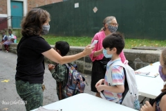 New York City starts the first day of school for Kindergarten students to eighth grade. On Thursday September 2, 2020 High School students will start classes.Teachers meet students outside of PS81x in the Riverdale section of the bronx they take the students temperature and then send them to meet other classmates and start the school day.Marissa Maher teacher checks student