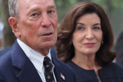 Michael Bloomberg, founder of Bloomberg LP and former Mayor of New York City and Kathy Hochul, Governor of New York, speak during a news conference at the National September 11 Memorial & Museum in New York, U.S., on Wednesday, Sept. 8, 2021. This year marks the 20th anniversary of the attacks on the World Trade Center towers in New York.