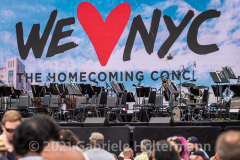 """The stage for the """"We Love NYC Homecoming Concert"""" on the Great Lawn in Central Park, is all set for the performers. (Photo by Gabriele Holtermann)"""