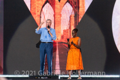 """NYC Mayor Bill de Blasio and First Lady Chirlane McCray address the crowd the """"We Love NYC Homecoming Concert"""" on the Great Lawn in Central Park.(Photo by Gabriele Holtermann)("""