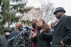 Press conference at City Hall Park for the Keyon Harrold Jr incident which took place at the Arlo Hotel in Soho, Manhattan. In attendance was the Harrold family, Rev Al Sharpton and family lawyer Ben Crump.