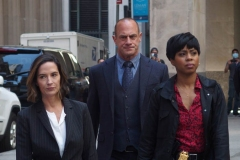 """New York-   Filming the Television show"""" Law and Order- Organized Crime"""" in  the financial District of Manhattan Christopher Meloni, Danelle Mone Truitt"""
