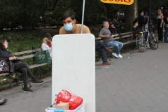 Washington Square Park during the Corona Virus Pandemic.Students from New York University and Greenwich Village residences enjoy the park.