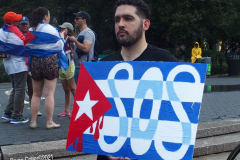 Anti- Cuba March and Rally in New York City. Cuban Americans march and held a rally in the rain to protest the conditions in Cuba