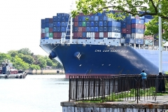 """Thursday, May 20, 2021 CMA CGM Marco Polo  Staten Island, NY For credit:  Mary DiBiase Blaich  The """"CMA CGM Marco Polo"""", the largest ship to ever visit the East Coast of the US, sailed into New York harbor this morning, Thursday, May 20, 202..  It passed the Statue of Liberty and lower Manhattan, before turning around and sailing through the Kill Van Kill, and then  under the Bayonne Bridge in route to Port Newark.  School children who attend the Harbor School on Richmond Terrace had an opportunity to cross the street from their building and pose with the ship as it sailed behind them."""