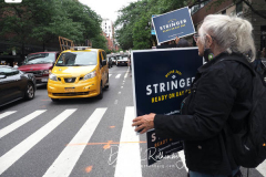 Scott Stringer supporters at a New York City Democratic Mayoral Candidates at a Pre Debate Rally before their first debate on ABC TV on 02 June 2021