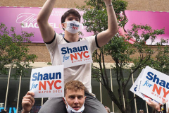 Shaun Donovan supporters at a New York City Democratic Mayoral Candidate Pre Debate Rally along Columbus Avenue before his first debate on ABC TV on 02 June 2021