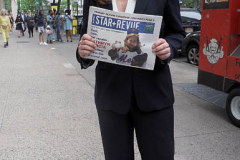 Kathryn Garcia at a New York City Democratic Mayoral Candidate Pre Debate Rally along Columbus Avenue before their first debate on ABC TV on 02 June 2021