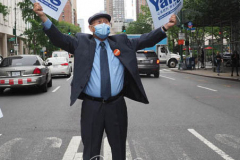 Andrew Yang supporterat a New York City Democratic Mayoral Candidate Pre Debate Rally along Columbus Avenue before hisr first debate on ABC TV on 02 June 2021