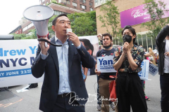 Andrew Yang and his wife Evelyn at a New York City Democratic Mayoral Candidate  Pre Debate Rally along Columbus Avenue before hisr first debate on ABC TV on 02 June 2021