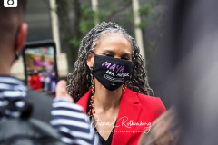 Maya Wiley at a New York City Democratic Mayoral Candidate Pre Debate Rally along Columbus Avenue before hisr first debate on ABC TV on 02 June 2021