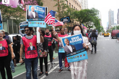 Eric Adams supporters at a New York City Democratic Mayoral Candidate Pre Debate Rally along Columbus Avenue before his first debate on ABC TV