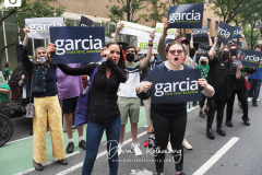 Kathryn Garcia supporters at a New York City Democratic Mayoral Candidate Pre Debate Rally along Columbus Avenue before his first debate on ABC TV