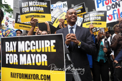Ray McGuire at a New York City Democratic Mayoral Candidate Pre Debate Rally along Columbus Avenue before his first debate on ABC TV