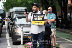 Ray McGuire supporters at a New York City Democratic Mayoral Candidate Pre Debate Rally along Columbus Avenue before his first debate on ABC TV