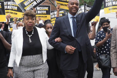 Gwen Carr (Eric Garner's Mother) and Ray McGuire at a New York City Democratic Mayoral Candidate Pre Debate Rally along Columbus Avenue before his first debate on ABC TV