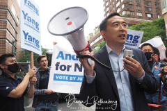 Andrew Yang at a New York City Democratic Mayoral Candidate Pre Debate Rally along Columbus Avenue before his first debate on ABC TV