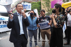 Andrew Yang is joined by his wife Evelyn at a New York City Democratic Mayoral Candidate Pre Debate Rally along Columbus Avenue before his first debate on ABC TV