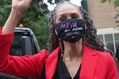 Maya Wiley at a New York City Democratic Mayoral Candidate Pre Debate Rally along Columbus Avenue before his first debate on ABC TV