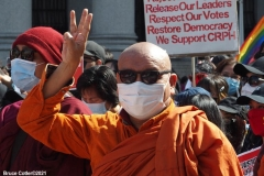 New York-  Myanmar Rally held in Foley Square. Protestors want to raise awareness of the political climate in Myanmar.