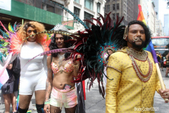 .New York City 2021 Pride Parade. LBGTQ Participants march down 5th ave in Manhattan in a modified parade because of Covid.
