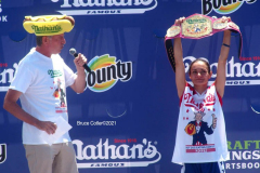 NATHAN'S FAMOUS FOURTH OF JULY HOT DOG-EATING CONTEST  AT CONEY ISLAND'S MAIMONIDES PARK  World champion Joey Chestnut will defend his title against the world's top eaters before a live audience at the Nathan's Famous Fourth of July International Hot Dog-Eating Contest in Coney Island's Maimonides Park (formerly MCU Park).   The world's best eating athletes  go head-to-head in the 10-minute, all-you-can-eat contest. Chestnut's  broke his world record of 75 hot dogs and buns with 76 hot dogs. against number-two-ranked Geoffrey Esper(who has beaten Chestnut in recent events) .  In the women's competition, Michelle Lesco won with 30 3/4hot dogs and buns  competed against world pepperoni roll-eating champion Larell Marie Mele and Sarah Rodriguez.
