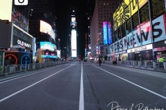 Time Square is almost empty due to Covid restrictions in New York City as the Waterford Crystal Ball falls to ring in the New Year on 01 January 2021