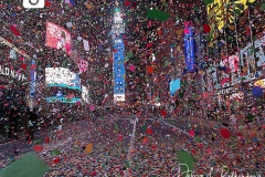 Confetti fills an almost empty Time Square due to Covid restrictions in New York City as the Waterford Crystal Ball falls to ring in the New Year on 01 January 2021