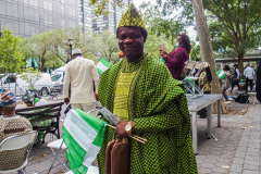 People come together for the 5th Nigerian Independence Day Parade on East 47th Street in Manhattan, NYC where food, festivities, artisans and DJs celebrated.  Speeches by local prominent Nigerian-American figures were made in celebration of Nigeria's independence on October 1st, 1961. (C) Bianca Otero. NYC. October 09, 2021.