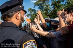 Black Lives Matter protesters confront Blue Lives Matter supporters after their rally in Brooklyn, New York, on July 12, 2020. (Photo by Gabriele Holtermann)