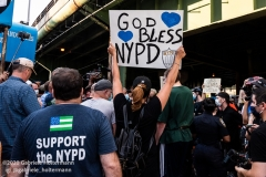Supporters of the NYPD attend a Blue Lives Matter rally in Brooklyn, New York, on July 12, 2020. (Photo by Gabriele Holtermann)