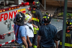 FDNY firefighters look at the scaffolding collapse, that  killed one and injured three others, at 136 E 36th Street in New York City on July 16, 2020. (Photo by Gabriele Holtermann/Sipa USA)