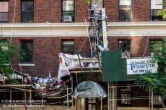 The scene of a scaffolding collapse that killed one and injured three at 136 E 36th Street in New York City on July 16, 2020. (Photo by Gabriele Holtermann/Sipa USA)