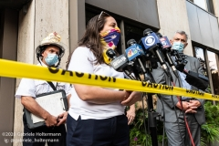 Melania La Rocca, Commissioner of the Department of Buildings, answers questions at a press conference after a scaffolding accident that killed one and injured three others at 136 E 36th Street in New York City on July 16, 2020. (Photo by Gabriele Holtermann/Sipa USA)