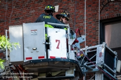 FDNY firefighters on the scene of a scaffolding collapse, that killed one and injured three, at 136 E 36th Street in New York City  on July 16, 2020. (Photo by Gabriele Holtermann/Sipa USA)