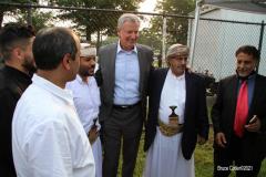 New York City Mayor Bill de Blasio  delivers remarks at the Eid UI-Adha prayer in Brooklyn, New York.  Early morning  outdoor prayer service. N.Y.C. Mayor Bill de Blasio