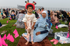 A mother and her daughter celebrate Eid-Al-Adha in Bensonhurst, Brooklyn, NY,  on July 20, 2021. (Photo by Gabriele Holtermann)