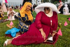 Members of the Islamic Society of Bay Ridge celebrate Eid-Al-Adha in Bensonhurst, Brooklyn, NY,  on July 20, 2021. (Photo by Gabriele Holtermann)