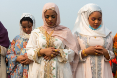 Members of the Islamic Society of Bay Ridge join in prayer at the Eid-Al-Adha celebration in Bensonhurst, Brooklyn, NY, on July 20, 2021. (Photo by Gabriele Holtermann)