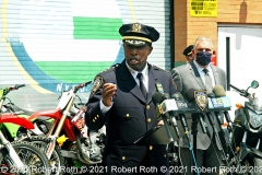 """At the press conference in Washington Heights, Chief of Department Rodney Harrison flanked by Deputy Commissioner Robert Martinez declared of the motorbikes and ATVs, """"""""They are illegal and dangerous,"""" he said. """"Don't ride them. If you do, you are endangering yourself and others."""" Credit: ©2021 Robert Roth"""