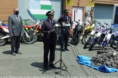 Chief Kim Royster, who heads the NYPD's Transportation Bureau, warns that dirt bikes and ATVs are illegal because they lack the proper safety equipment like mirrors, brake lights and signals.  For that reason, they cannot be registered with the DMV. Credit: ©2021 Robert Roth