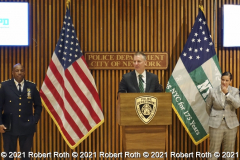 Police Commissioner Dermot Shea speaks to members of the media along with Chief of the Department Rodney Harrison and Sgt. Ana Arboleda.  Arboleda, who is vice present of GOAL, will soon step into the role of NYPD LGBTQIA+ Liaison to Harrison replacing the retiring Det. Carl. Locke.