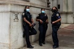 NYPD officers monitor the situation of the Occupy City Hall protest in New York City  on June 30, 2020. Protesters demand that the New York City Council cut the NYPD budget by at least $1 billion.(Photo by Gabriele Holtermann)